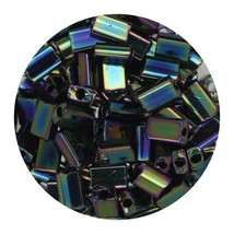 Flat Rectangle Bead Glass 3x5mm Czech Opaque Green Iris - $7.94