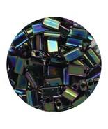 Flat Rectangle Bead Glass 3x5mm Czech Opaque Green Iris - $7.94