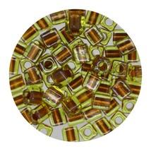 Square Glass Beads Japan 4mm Miyuki Cube Gold Lined Peridot - $6.94