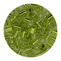 Square Glass Beads Japan 4mm Miyuki Cube Silver Lined Lime - $6.94