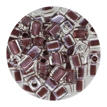 Square Glass Beads Japan 4mm Miyuki Cube Coffee Lined Crystal - $6.94