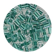 Square Glass Beads Japan 4mm Miyuki Cube Teal Lined Crystal - $6.94