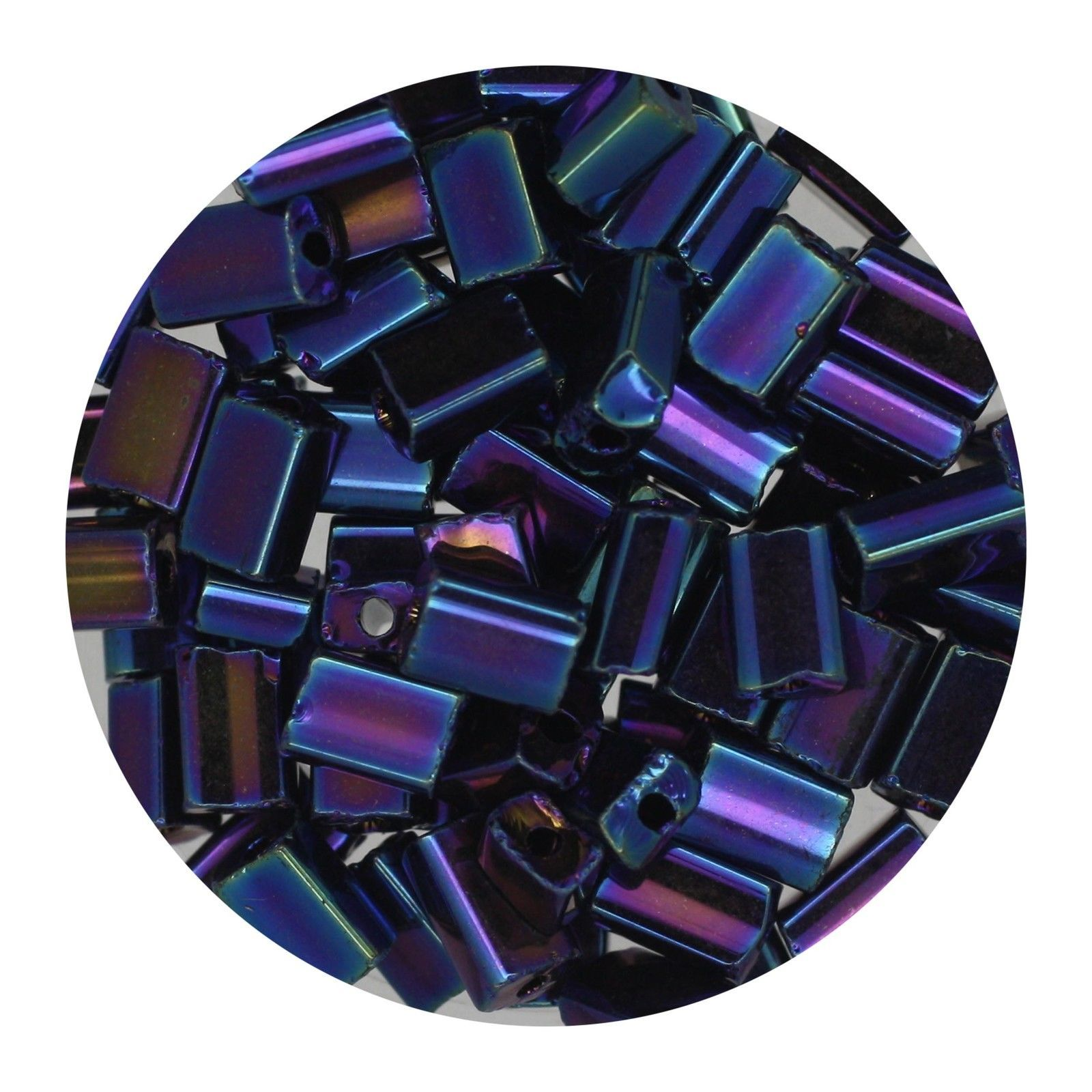 Flat Rectangle Bead Glass 3x5mm Czech Opaque Blue Iris - $7.94