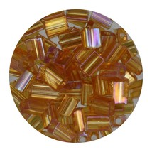 Flat Rectangle Bead Glass 3x5mm Czech Transparent Iris Topaz - $7.94