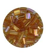 Flat Rectangle Bead Glass 3x5mm Czech Transparent Iris Topaz - $7.94