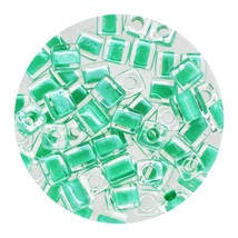 Square Glass Beads Japan 4mm Miyuki Cube Lined Green - $6.96