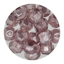 Faceted Fire Polish Beads Czech Glass 8mm Luster Light Amethyst - $7.94
