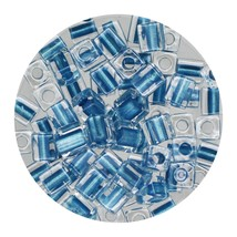 Square Glass Beads Japan 4mm Miyuki Cube Blue Lined Crystal - $6.95