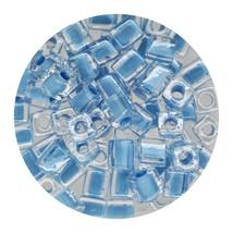 Square Glass Beads Japan 4mm Miyuki Cube Lined Blue - $6.95