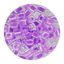 Square Glass Beads Japan 4mm Miyuki Cube Lined Lavender - $6.94