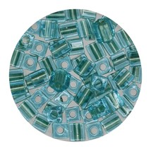Square Glass Beads Japan 4mm Miyuki Cube Lined Aqua - $6.94