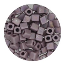 Square Glass Beads Japan 4mm Miyuki Cube Opaque Lavender Ab - $6.94