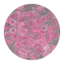 Square Glass Beads Japan 4mm Miyuki Cube Pink Lined Crystal - $6.94