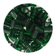 Flat Rectangle Bead Glass 3x5mm Czech Transparent Dark Green - $7.94
