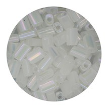 Flat Rectangle Bead Glass 3x5mm Czech Transparent Luster Iris White - $7.94