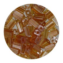 Flat Rectangle Bead Glass 3x5mm Czech Transparent Luster Topaz - $7.94