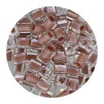 Square Glass Beads Japan 4mm Miyuki Cube Peach Lined Crystal - $6.94