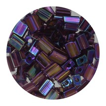 Flat Rectangle Bead Glass 3x5mm Czech Transparent Iris Amethyst - $7.94