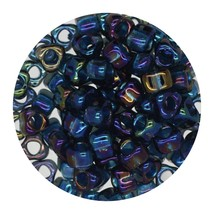 Glass Triangle Bead 5/0 Japan  Transparent Lined Grey Green Shimmering Ab - $7.94