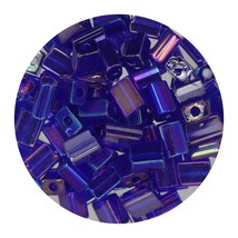 Flat Rectangle Bead Glass 3x5mm Czech Transparent Iris Cobalight - $7.94