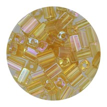 Flat Rectangle Bead Glass 3x5mm Czech Transparent Iris Light Topaz - $7.94