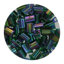 Flat Rectangle Bead Glass 3x5mm Czech Transparent Iris Dark Green - $7.94