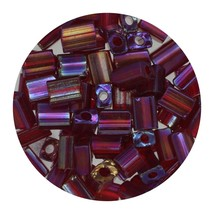 Flat Rectangle Bead Glass 3x5mm Czech Transparent Iris Ruby - $7.94