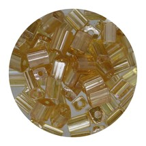 Flat Rectangle Bead Glass 3x5mm Czech Transparent Luster Light Topaz - $7.94