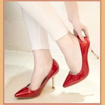 "Shiny PU Leather Classic Red Silver or Black Cone Toe 3.5"" Spike High Heel Pumps"