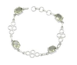 handsome Green Amethyst 925 Sterling Silver Green Bracelet genuine suppi... - $32.66