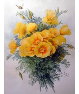 Still life of yellow bunch of flowers by Paul De Longpre Accent Tile Mur... - $15.00