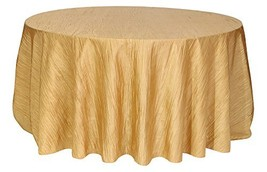 Your Chair Covers - 120 Inch Round Crinkle Taffeta Tablecloth Gold, Roun... - $23.05