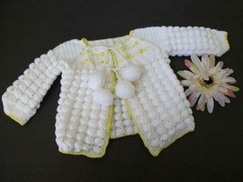 Vintage Crochet Bobble Baby Sweater 3/6 Mos Embroidered Cardigan Wht Yel... - $14.99