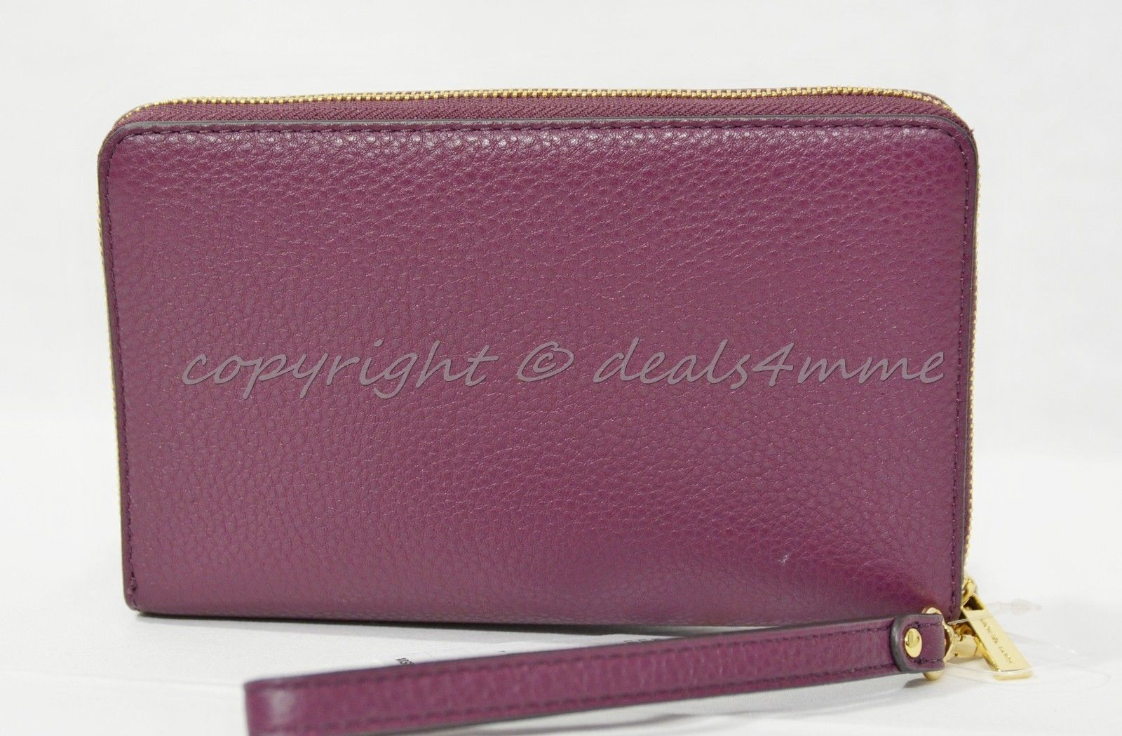 b66da85938a8 NWT Michael Kors Adele Large Leather Smartphone Wallet Wristlet in Plum
