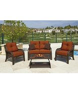 4-Piece Chelsea Cappuccino Resin Wicker Patio Loveseat, Chairs & Table F... - $1,486.48