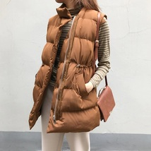 New brown warm padded winter vest with pockets cozy caramel long waistcoat - $39.00