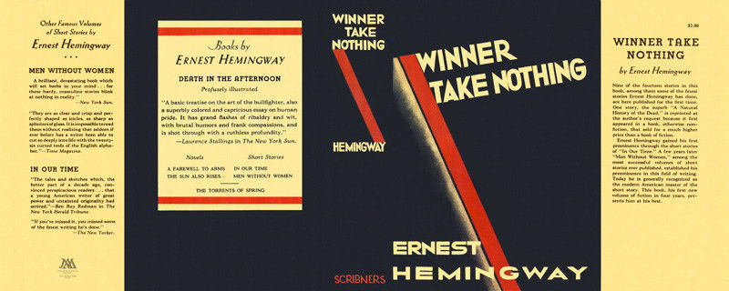 Ernest Hemingway-Facsimile dust jacket for Winner Take Nothing 1st edition