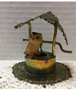 Vintage Copper Metal Wishing Well With Horned Owl Sculpture Rustic Folk Art - $10.25