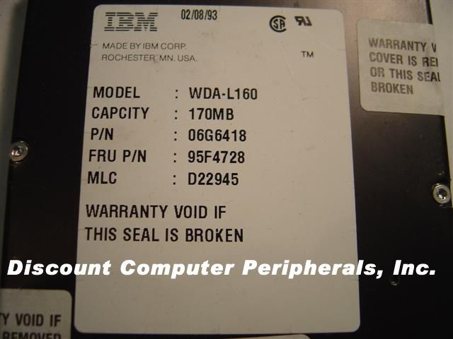 IBM WDA-L160 170MB 3.5IN IDE Drive 2 in stock Tested Good Free USA Shipping