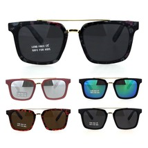 Kids Size Mod Horn Rim Flat Top Double Metal Bridge Fashion Sunglasses - $9.95
