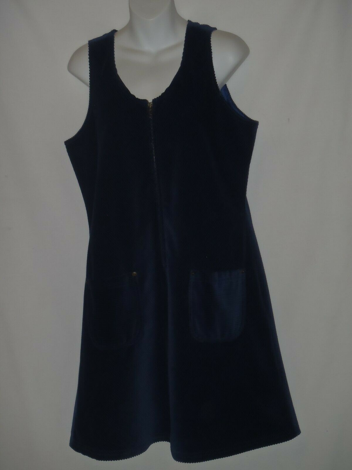 Primary image for Size MEDIUM M Hanna Andersson Blue Corduroy Jumper Dress Pockets Womens