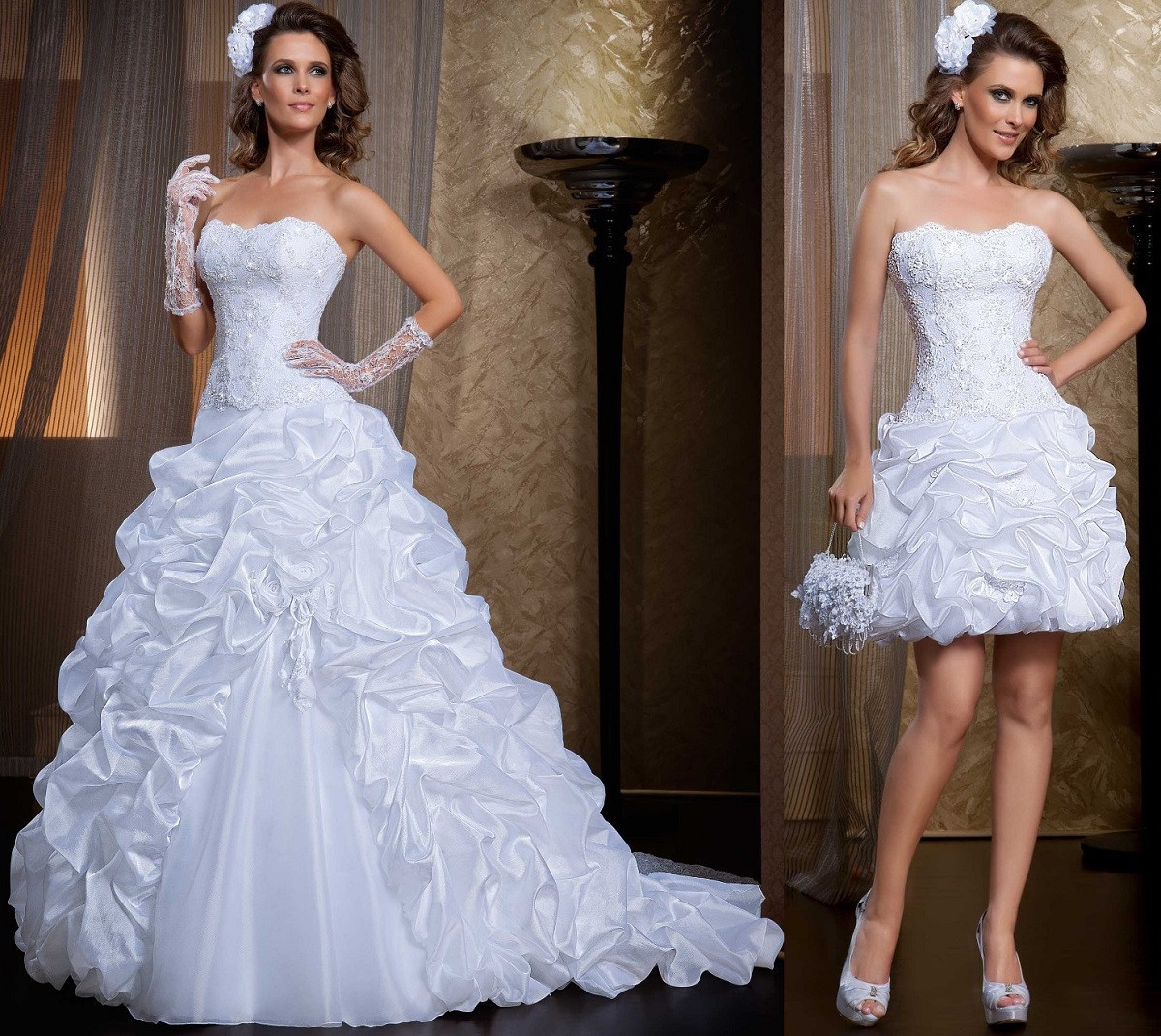 Ruffled Lace Strapless  two in one Wedding Dresses with Removable Skirt