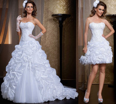 Ruffled Lace Strapless  two in one Wedding Dresses with Removable Skirt image 1