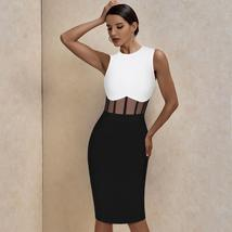 Sexy Mesh Insert Summer Black and White Bandage Bodycon Club Party Dress image 2
