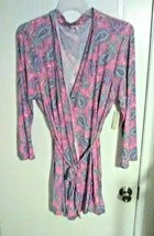 Bobbie Brooks Woman's Pink With Paisley Print Robe - Waist Belt - Plus S... - $9.67