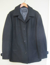 LONDON FOG Mens Size XL Blk Wool Blend Lined Walking Pea Coat 3 Button C... - $39.99