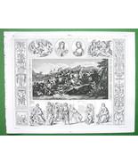 RENAISSANCE ART Lebrun Albano Murillo !! 1844 Antique Print Engraving - $9.45
