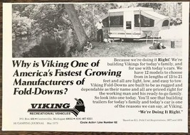 1979 Viking Recreational Vehicles Ad Fastest Growing Manufacturer of Fol... - $9.95