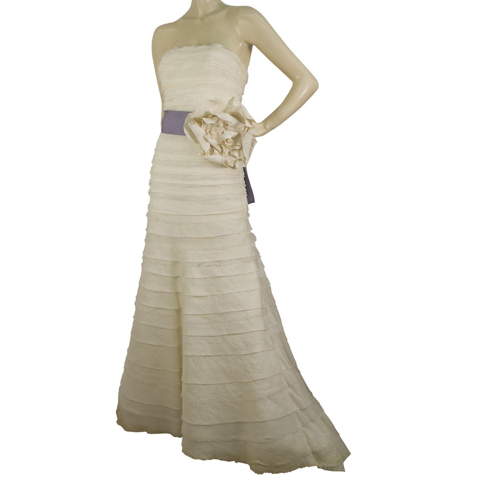Vera Wang Silk Floor Length Bridal Wedding Gown Dress Strapless US 8 EU 42