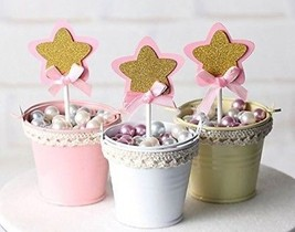 21-pac Pink And Gold Star Cupcake Toppers Picks, Glitter Star Cake Topp... - $20.06